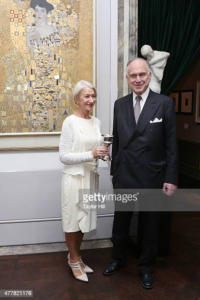 Dame Helen Mirren is honored by World Jewish Congress President Ronald Lauder for her role as Adele BlochBauer in 'Woman in Gold' in front of her...
