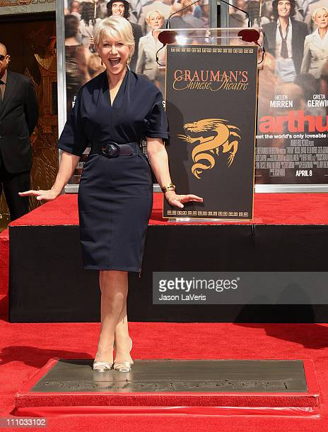 Dame Helen Mirren is honored with a hand and footprint ceremony at Grauman's Chinese Theatre on March 28 2011 in Hollywood California