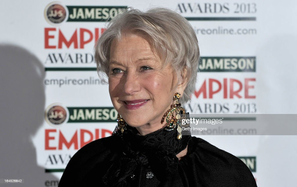 Dame Helen Mirren is pictured arriving at the Jameson Empire Awards at Grosvenor House on March 24, 2013 in London, England. Renowned for being one of the most laid-back awards shows in the British movie calendar, the Jameson Empire Awards celebrate the film industry's success stories of the year with Empire Magazine readers voting for the winners. Visit empireonline.com/awards2013 for more information.