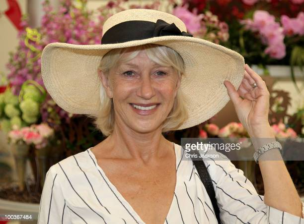 Dame Helen Mirren poses for a photograph at the Press VIP preview at The Chelsea Flower Show at Royal Hospital Chelsea on May 24 2010 in London...