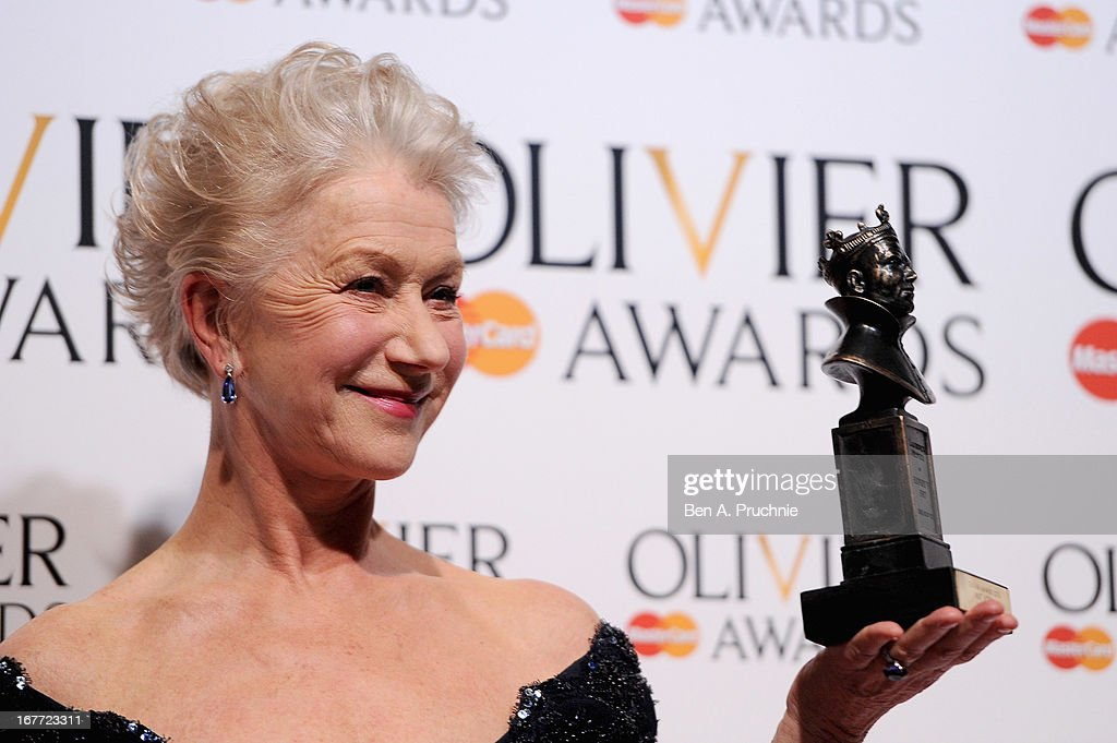 Dame Helen Mirren with her Best Actress award during The Laurence Olivier Awards at the Royal Opera House on April 28, 2013 in London, England.