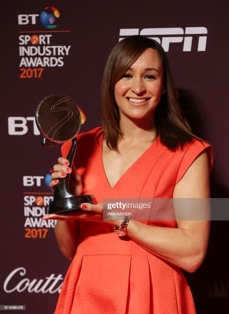 Dame Jessica Ennis-Hill poses with the Outstanding Contribution to Sport award sponsored by Vitality during the BT Sport Industry Awards 2017 at Battersea Evolution on April 27, 2017 in London, England. The BT Sport Industry Awards is the most prestigious commercial sports awards ceremony in Europe, where over 1,750 of the industry's key decision-makers mix with high profile sporting celebrities for the industry's most anticipated night of the sport business calendar.