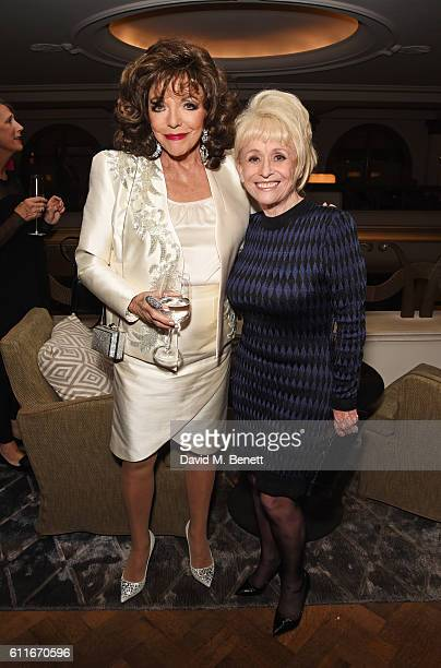 Dame Joan Collins and Dame Barbara Windsor attend an after party following Dame Joan Collins' one woman show 'Joan Collins Unscripted' at the Cafe...