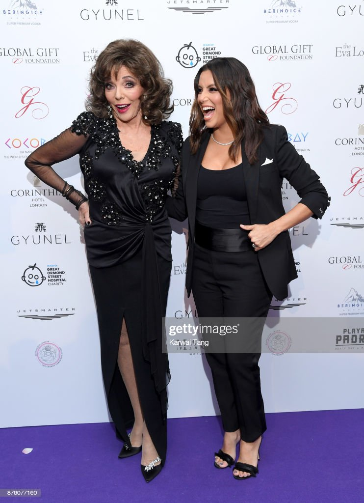 Dame Joan Collins and Eva Longoria attend The Global Gift gala held at the Corinthia Hotel on November 18, 2017 in London, England.