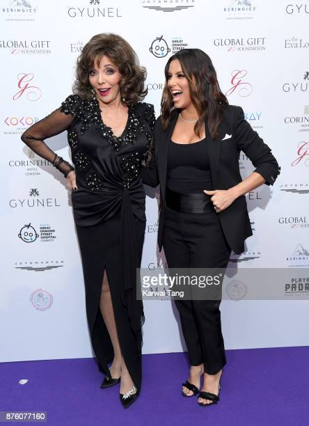 Dame Joan Collins and Eva Longoria attend The Global Gift gala held at the Corinthia Hotel on November 18 2017 in London England