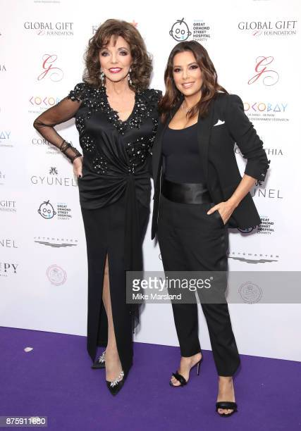 Dame Joan Collins and Eva Longoria attend The Global Gift Gala London held at Corinthia Hotel London on November 18 2017 in London England