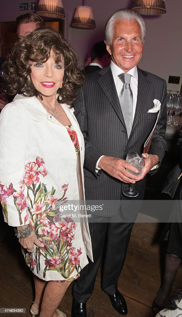 Dame Joan Collins (L) and George Hamilton attend an after party celebrating the VIP Gala Preview of 'The Elephant Man' at The Haymarket Hotel on May 26, 2015 in London, England.