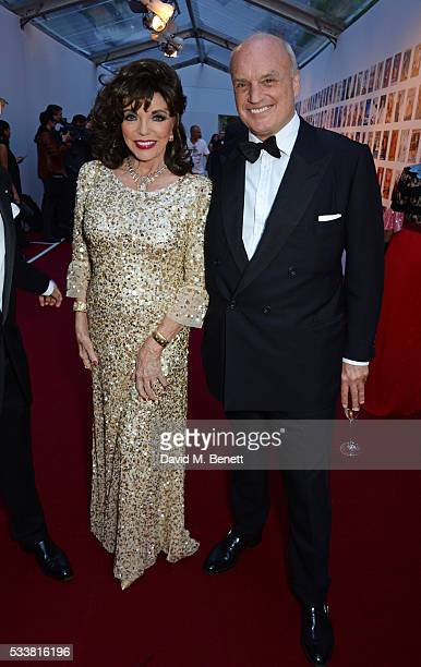 Dame Joan Collins and Nicholas Coleridge attend British Vogue's Centenary gala dinner at Kensington Gardens on May 23, 2016 in London, England.