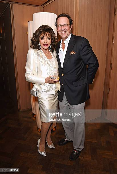 Dame Joan Collins and Percy Gibson attend an after party following Dame Joan Collins' one woman show 'Joan Collins Unscripted' at the Cafe Royal on...
