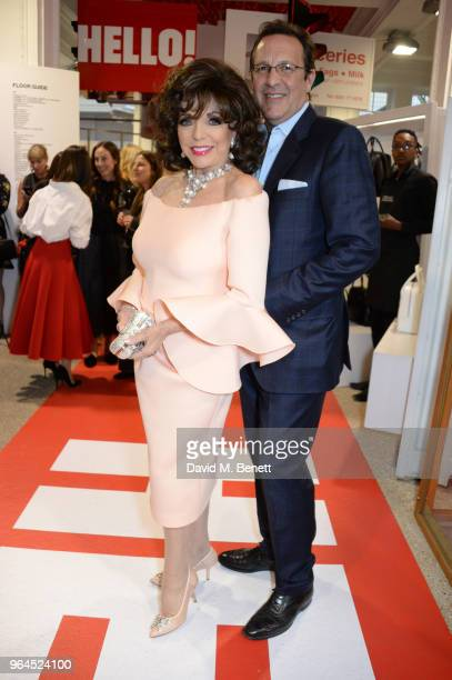 Dame Joan Collins and Percy Gibson attend Hello Magazine's 30th anniversary party at Dover Street Market on May 9 2018 in London England