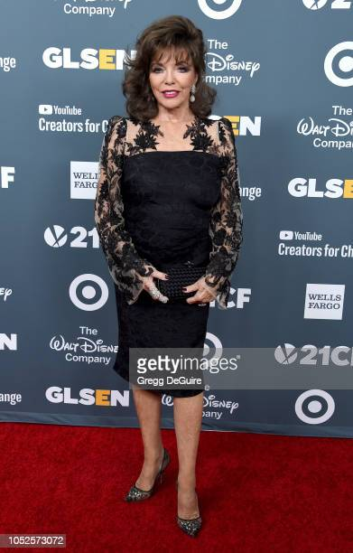Dame Joan Collins arrives at the GLSEN Respect Awards at the Beverly Wilshire Four Seasons Hotel on October 19 2018 in Beverly Hills California