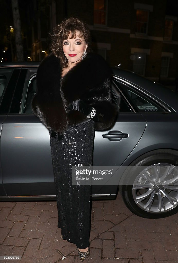 Dame Joan Collins arrives in an Audi at The London Evening Standard Theatre Awards at The Old Vic Theatre on November 13, 2016 in London, England.