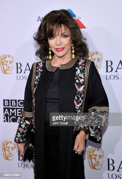 Dame Joan Collins arrives to the BAFTA Tea Party at The Four Seasons Hotel Los Angeles at Beverly Hills on January 05 2019 in Beverly Hills California