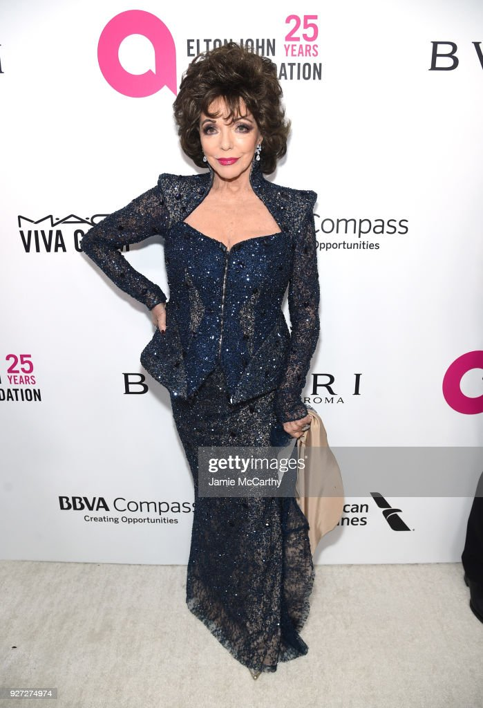 Dame Joan Collins attends the 26th annual Elton John AIDS Foundation Academy Awards Viewing Party sponsored by Bulgari, celebrating EJAF and the 90th Academy Awards at The City of West Hollywood Park on March 4, 2018 in West Hollywood, California.