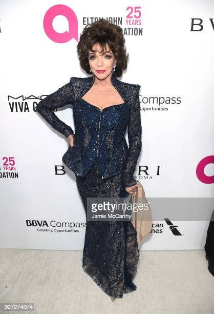 Dame Joan Collins attends the 26th annual Elton John AIDS Foundation Academy Awards Viewing Party sponsored by Bulgari celebrating EJAF and the 90th...
