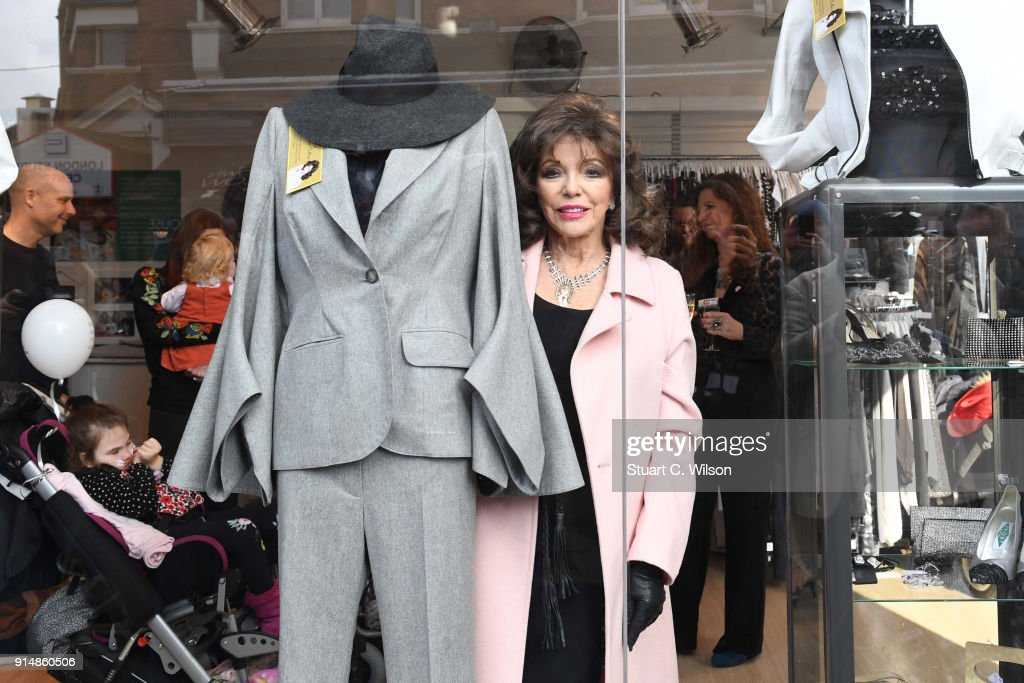 Dame Joan Collins opens Chase's Boutique Charity Shop on February 6, 2018 in Fulham, England.