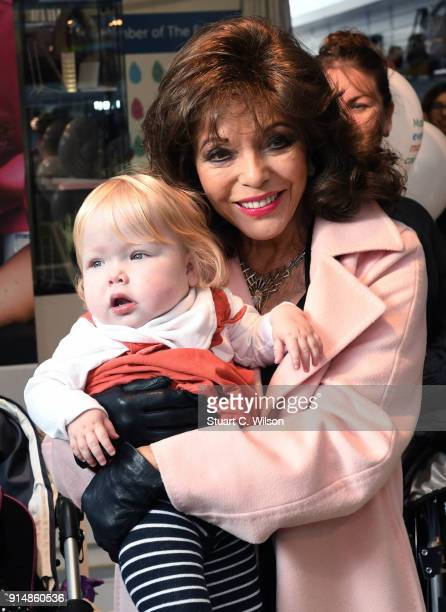 Dame Joan Collins opens Chase's Boutique Charity Shop on February 6 2018 in Fulham England