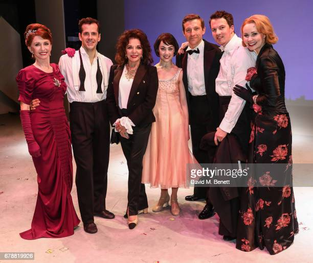 """Dame Joan Collins poses backstage with cast members of the West End production of """"An American In Paris"""" at The Dominion Theatre on May 4, 2017 in..."""