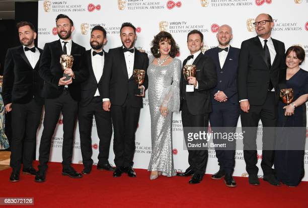 Dame Joan Collins poses with Anthony McPartlin and Declan Donnelly winners of the Entertainment Programme award for Ant and Dec's Saturday Night...