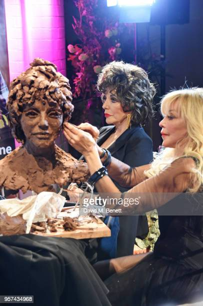 Dame Joan Collins sits for a live sculpting with artist Frances Segelman in support of Penny Brohn UK Charity at the London Film Museum on May 11...