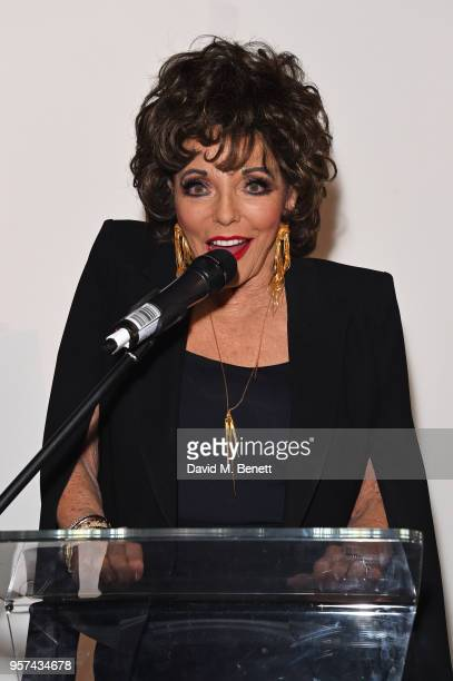 Dame Joan Collins speaks at a live sculpting in support of Penny Brohn UK Charity at the London Film Museum on May 11 2018 in London England