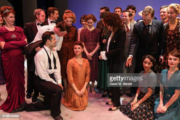 """Dame Joan Collins speaks with cast members including Jane Asher of the West End production of """"An American In Paris"""" at The Dominion Theatre on May..."""