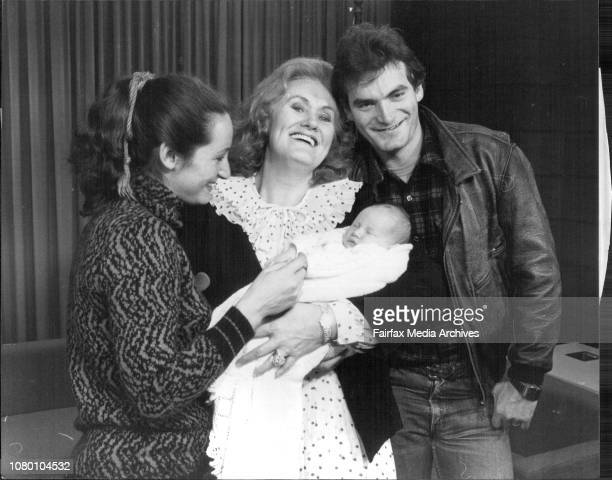 Dame Joan Sutherland returned from the USA today and was met by her granddaughter Natasha 4weeks old daughter of Adam Bonynge and his wife Helen from...