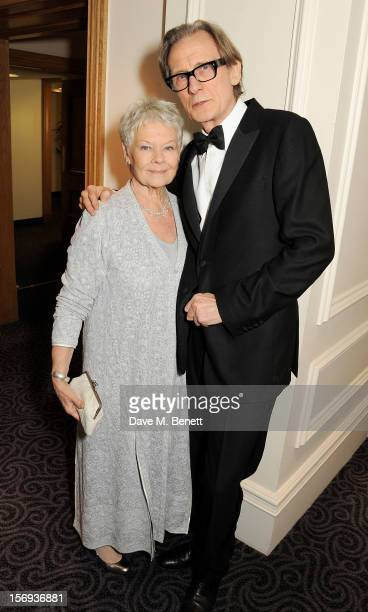 Dame Judi Dench and Bill Nighy attend a drinks reception at the 58th London Evening Standard Theatre Awards in association with Burberry at The Savoy...