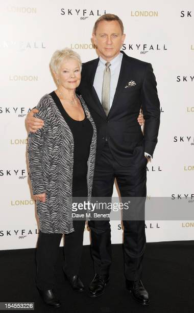 Dame Judi Dench and Daniel Craig attend a photocall for the new James Bond film 'Skyfall' at The Dorchester on October 22, 2012 in London, England.