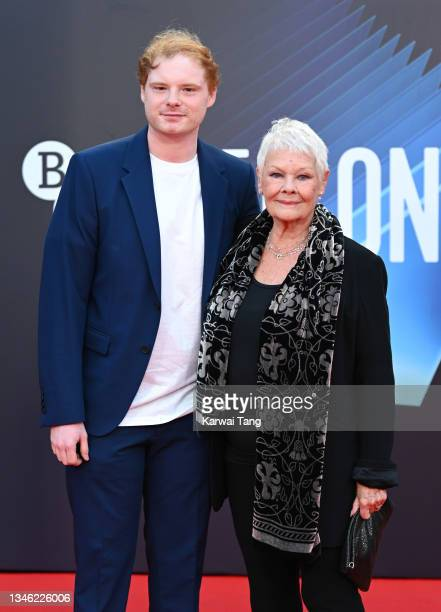 """Dame Judi Dench and grandson Sam WIlliams attend the """"Belfast"""" European Premiere during the 65th BFI London Film Festival at The Royal Festival Hall..."""