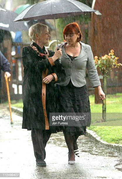 Dame Judi Dench and her daughter Finty during Funeral of Actor Sir John Mills April 27 2005 at The Parish Church of Saint Mary the Virgin in Denham...