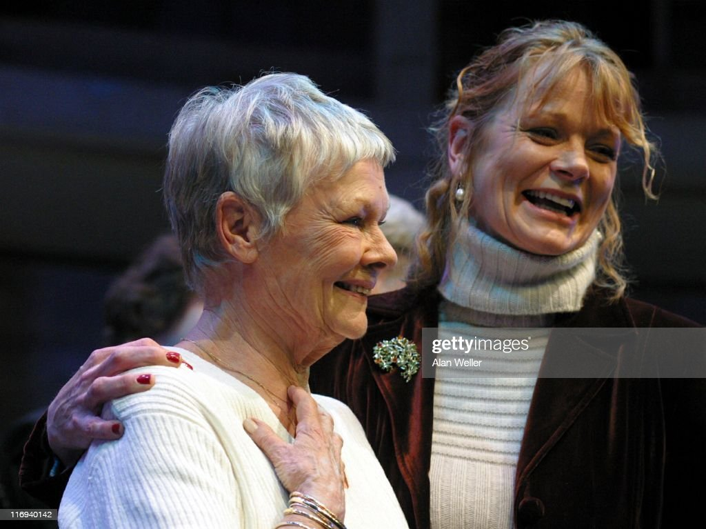 Dame Judi Dench and Samantha Bond during 'The Rose in Kingston' Gala - Rehearsal at Kingston Rose Theatre in Kingston, England, Great Britain.