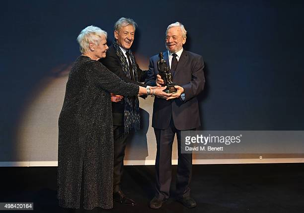 Dame Judi Dench and Sir Ian McKellen present The Lebedev Award to Stephen Sondheim at The London Evening Standard Theatre Awards in partnership with...