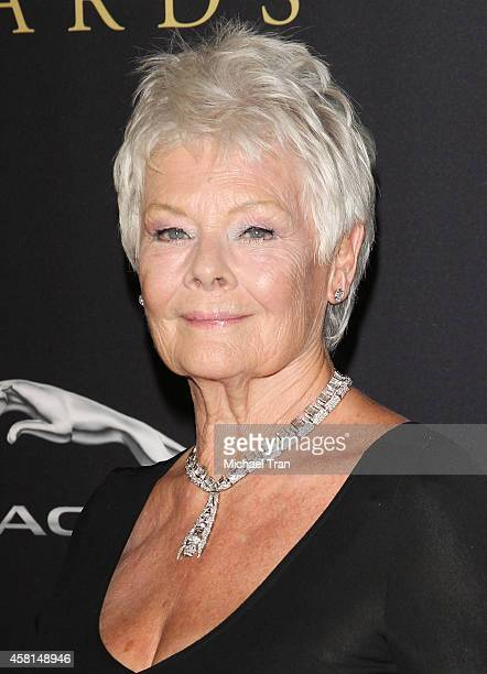 Dame Judi Dench arrives at the BAFTA Los Angeles Jaguar Britannia Awards held at The Beverly Hilton Hotel on October 30 2014 in Beverly Hills...