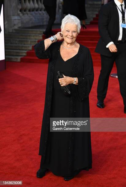 """Dame Judi Dench attends the """"No Time To Die"""" World Premiere at Royal Albert Hall on September 28, 2021 in London, England."""