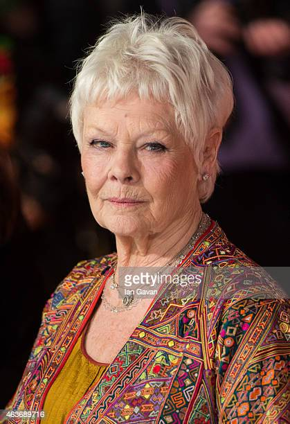 Dame Judi Dench attends The Royal Film Performance and World Premiere of The Second Best Exotic Marigold Hotel at Odeon Leicester Square on February...