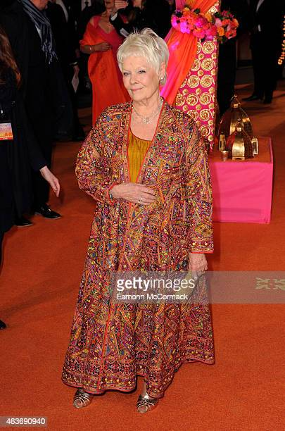 """Dame Judi Dench attends The Royal Film Performance and World Premiere of """"The Second Best Exotic Marigold Hotel"""" at Odeon Leicester Square on..."""