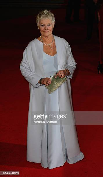 Dame Judi Dench attends the Royal World Premiere of 'Skyfall' at Royal Albert Hall on October 23 2012 in London England