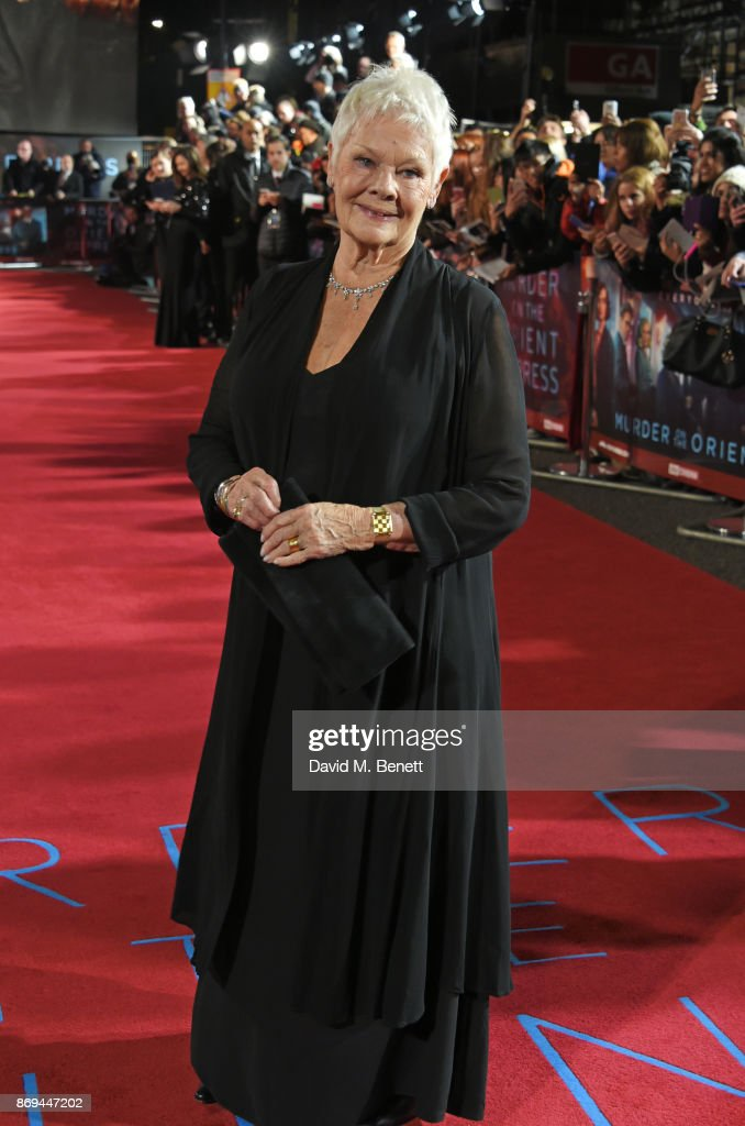 Dame Judi Dench attends the World Premiere of 'Murder On The Orient Express' at The Royal Albert Hall on November 2, 2017 in London, England.
