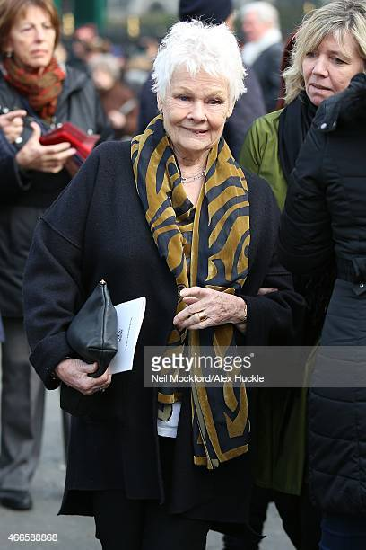 Dame Judi Dench attendss a Memorial Service for Sir Richard Attenborough at Westminster Abbey on March 17 2015 in London England