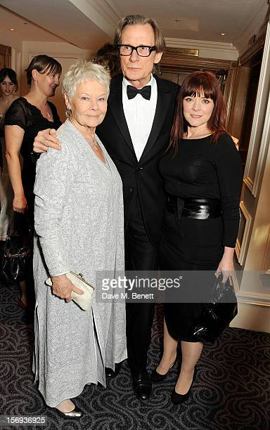 Dame Judi Dench, Bill Nighy and Finty Williams attend a drinks reception at the 58th London Evening Standard Theatre Awards in association with...