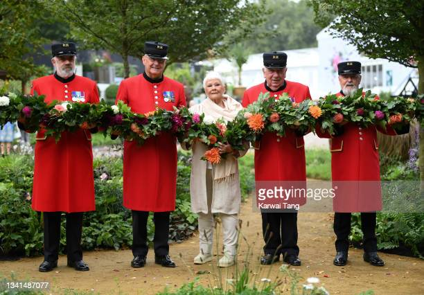 Dame Judy Dench attends the RHS Chelsea Flower Show on September 20, 2021 in London, England. This year's RHS Chelsea Flower Show was delayed from...