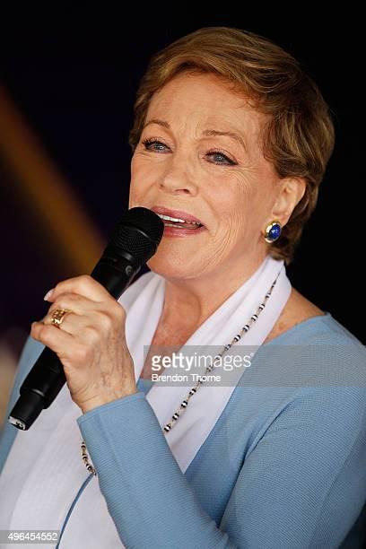 Dame Julie Andrews attends a media conference at Sydney Opera House on November 10 2015 in Sydney Australia