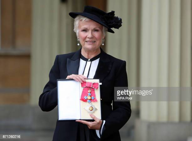 Dame Julie Walters poses after she was awarded a Damehood by Queen Elizabeth II at an Investiture ceremony at Buckingham Palace, on November 7, 2017...