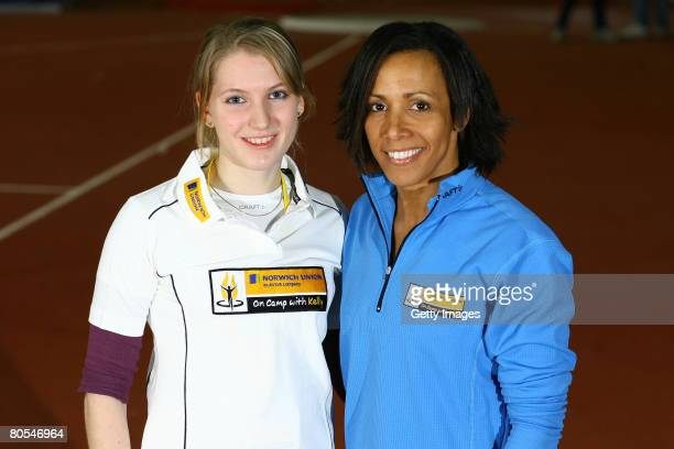 Dame Kelly Holmes and Hannah Brooks during the 'On Camp with Kelly' event at Loughborough University on April 5, 2008 in Loughborough, England.