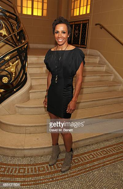 """Dame Kelly Holmes attends the after party following the press night performance of """"McQueen"""" at The Club at Cafe Royal on August 27, 2015 in London,..."""