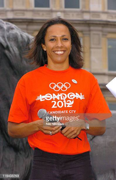 Dame Kelly Holmes during London Celebrates its Successful Olympic Bid for the 2012 Summer Games Party at Trafalgar Square in London Great Britain