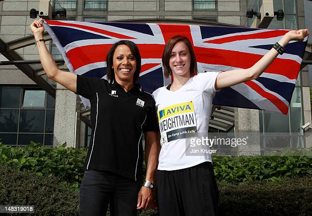 Dame Kelly Holmes poses with her protege Laura Weightman in a photocall at the Aviva sponsored 'On Camp with Kelly Media Day' press conference during...