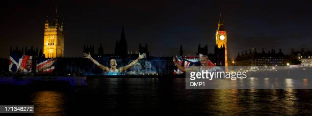 dame kelly holmes projected onto houses of parliament london 2012 - 2012 summer olympics london stock photos and pictures