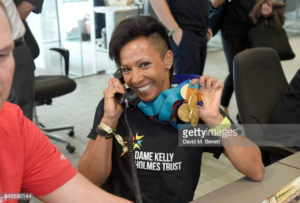 Dame Kelly Holmes representing The Dame Kelly Holmes Trust, makes a trade at BGC Charity Day on September 11, 2017 in Canary Wharf, London, United...